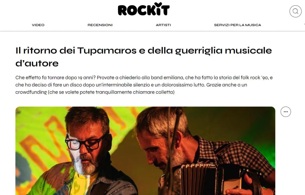 La copertina di Rockit con intervista ai Tupamaros